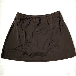 Dark Brown Skirted Swim Bottom Skort